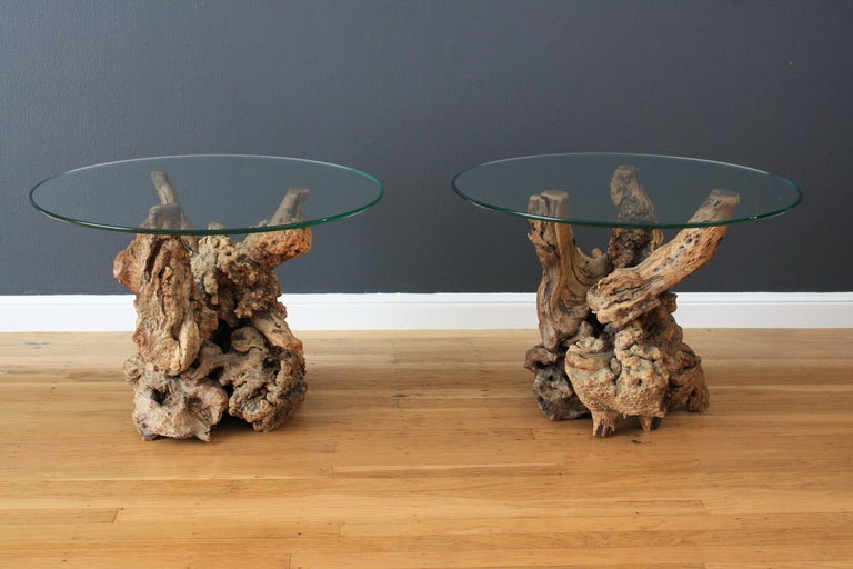 Vintage Mid Century Driftwood Side Tables 3