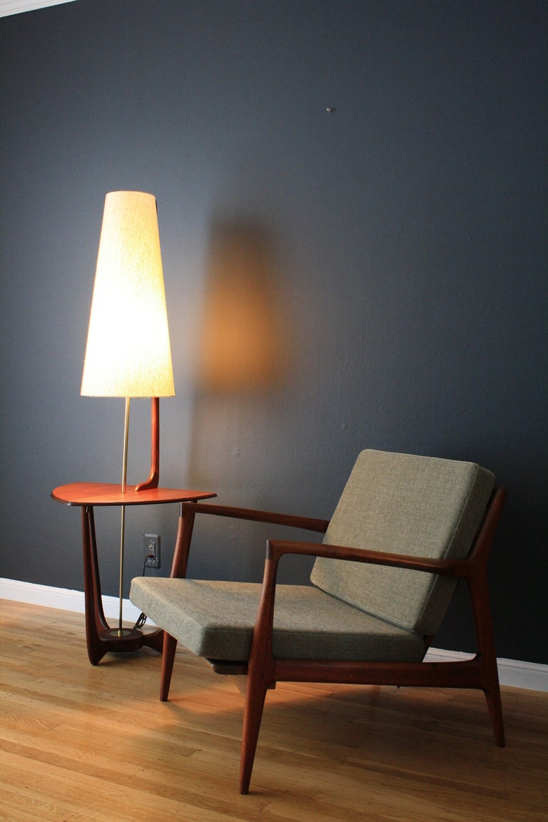 Mid century modern walnut floor lamp with side table at Mid century modern flooring