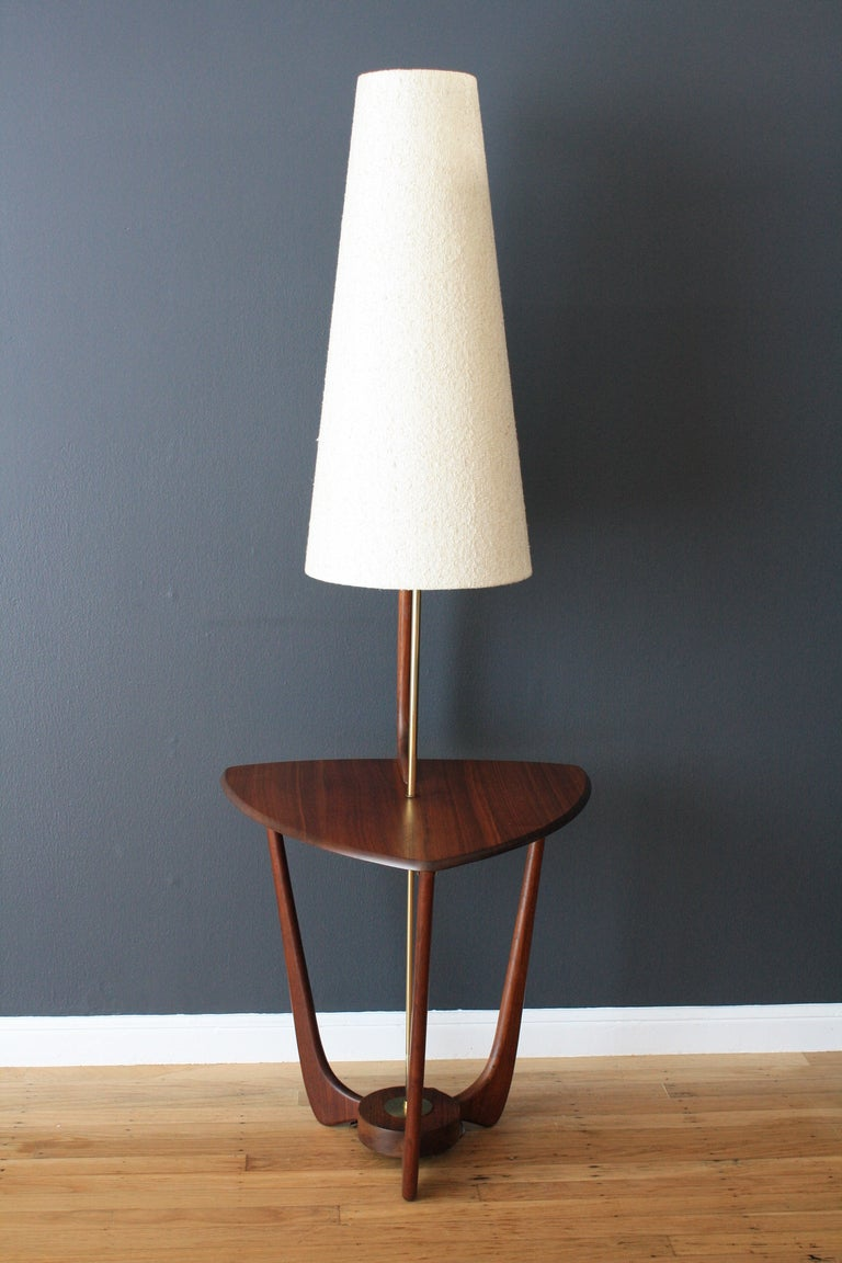 Mid century modern walnut floor lamp with side table at for Floor lamp with table
