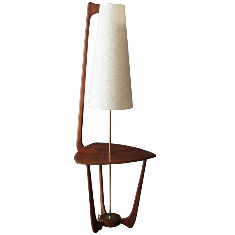 Mid Century Modern Walnut Floor Lamp With Side Table At
