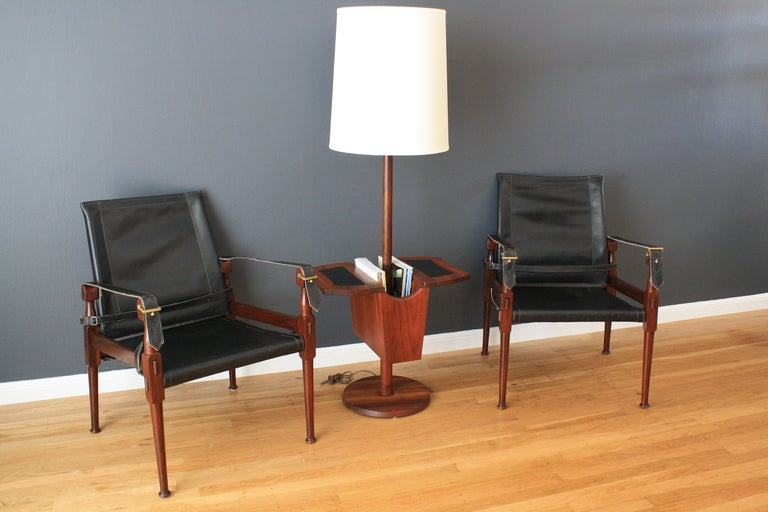 century modern floor lamp with magazine rack and side table at 1stdibs. Black Bedroom Furniture Sets. Home Design Ideas
