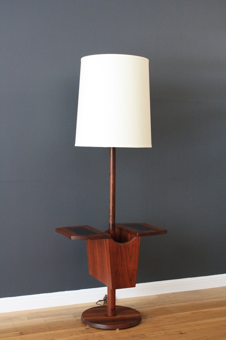 Mid century modern floor lamp with magazine rack and side for Modern contemporary floor lamp