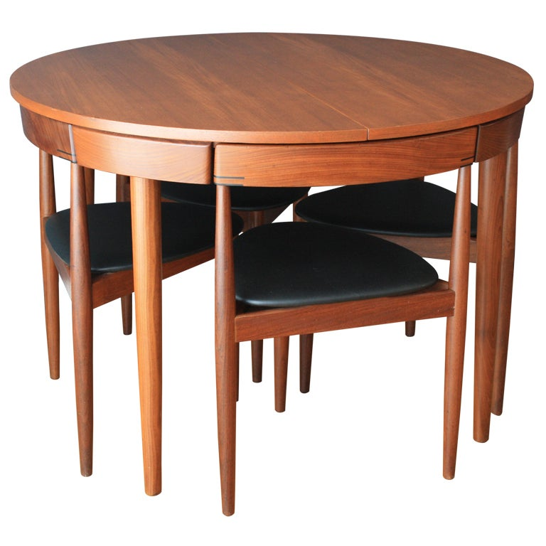 Hans olsen teak dining table with four chairs at 1stdibs for Dinner table set for 4
