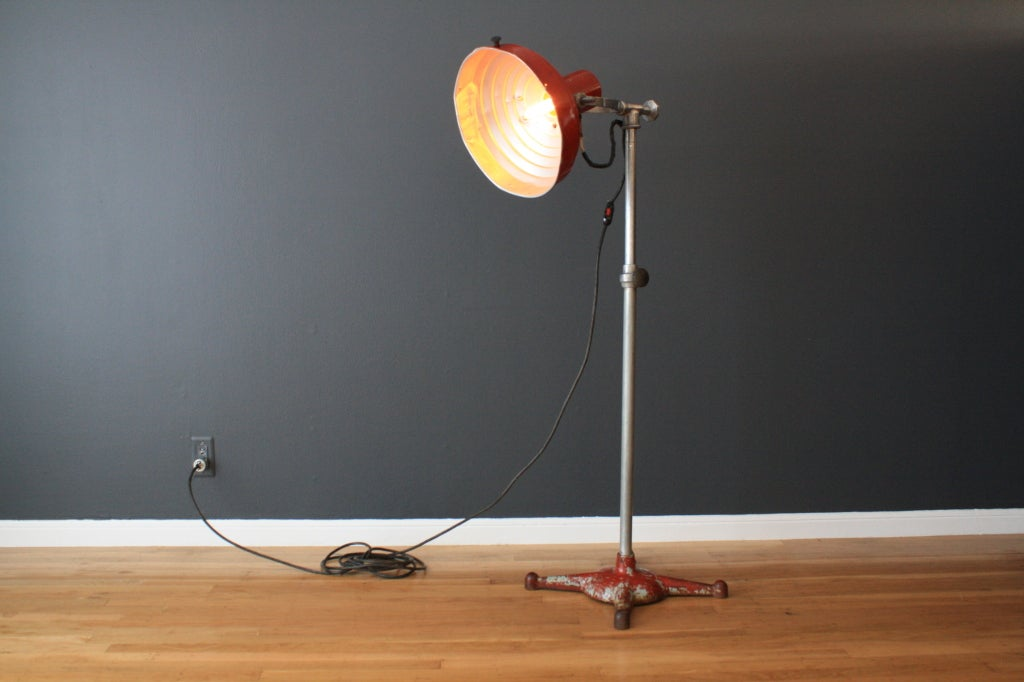 this vintage industrial floor lamp is marked hanovia chemical mfg co. Black Bedroom Furniture Sets. Home Design Ideas