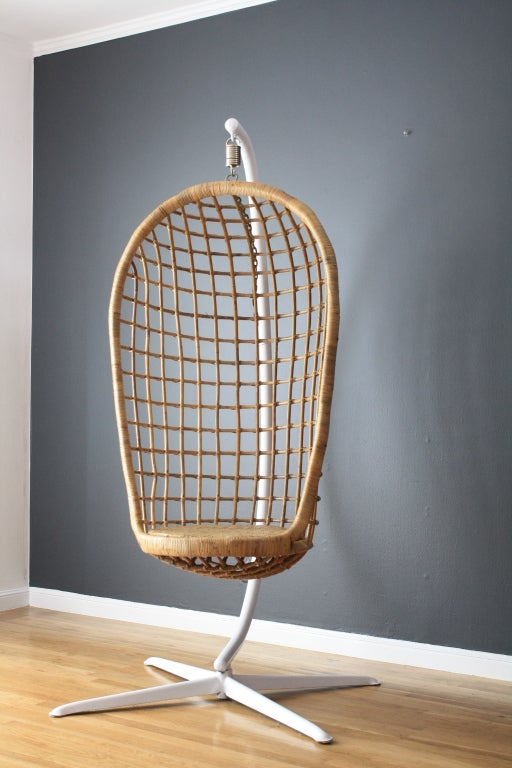 Vintage Mid Century Hanging Basket Chair At 1stdibs