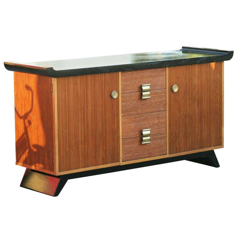 Paul Frankl Combed Wood Buffet Or Credenza For Brown