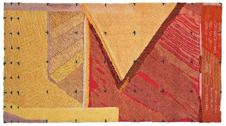 This abstract studio wall hanging / rug by J. Anderson is rendered in hand-hooked and tufted wool.  Signed, dated and inscribed on the reverse