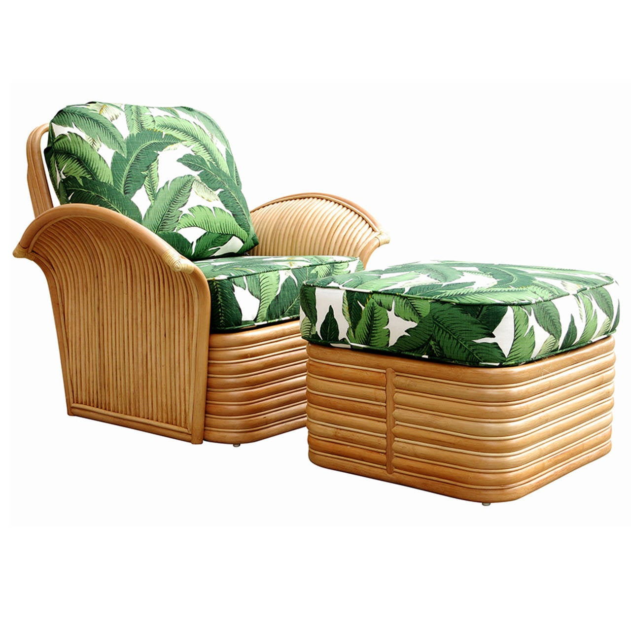 Rattan Fan Arm Lounge Chair Ottoman Set For Sale