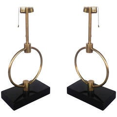 Gilbert Rohde Style Brass Ring Table Lamp, Pair  **Sature Sale**