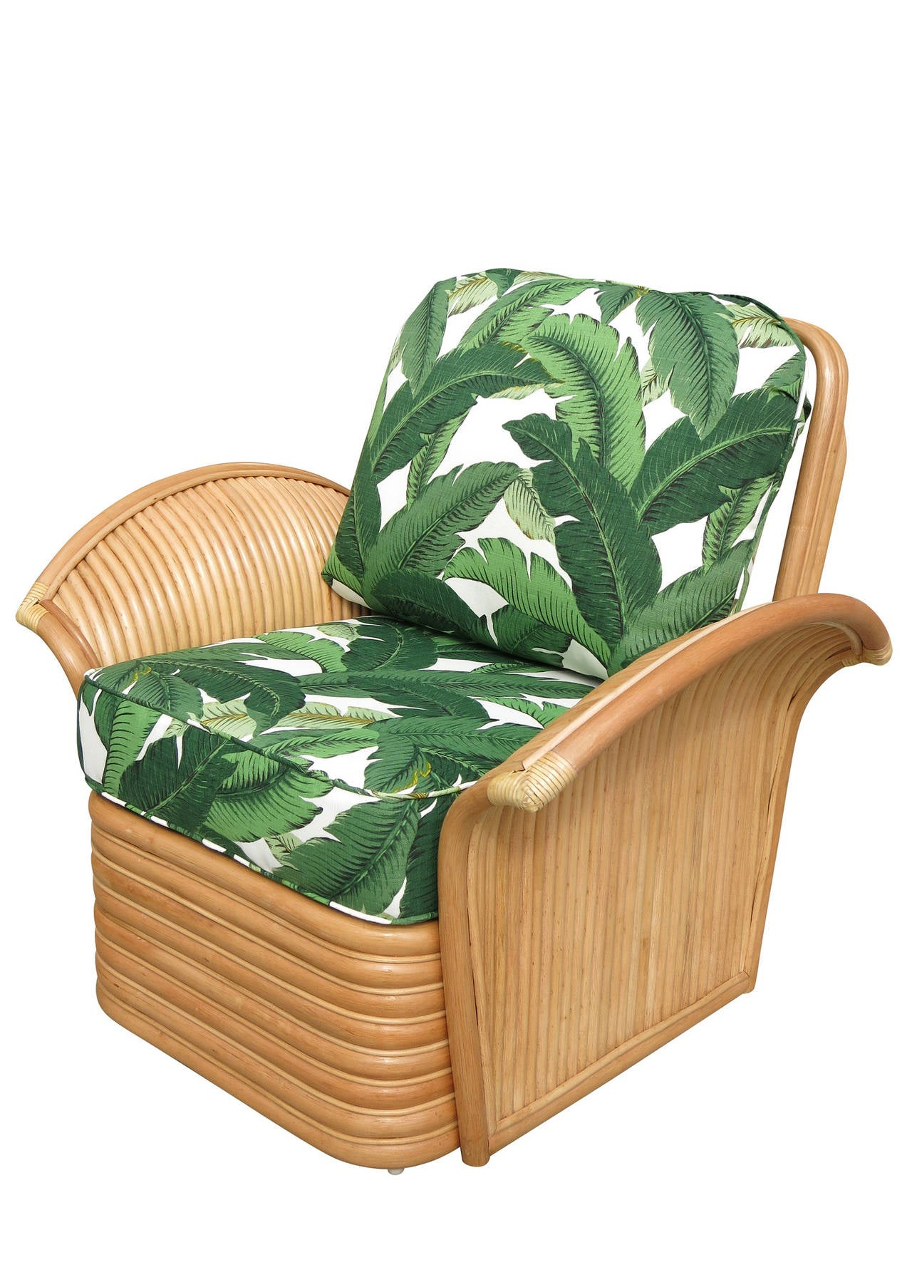 Restored Rattan Fan Arm Lounge Chair Ottoman Set For Sale at 1stdibs