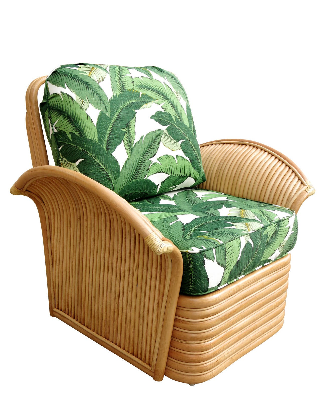 Restored Rattan Fan Arm Lounge Chair Ottoman Set