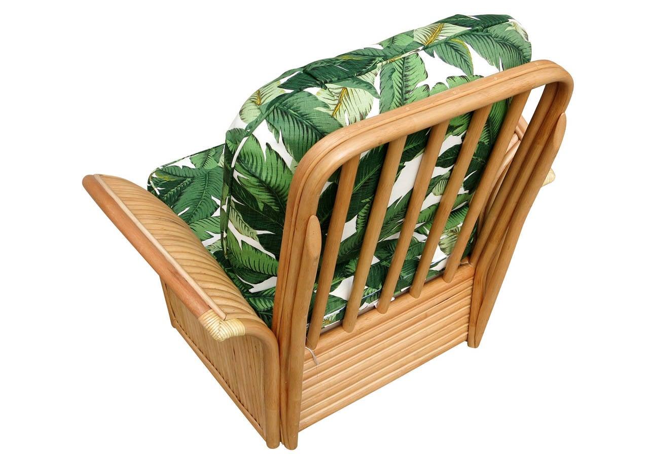 Restored Rattan Fan Arm Lounge Chair Ottoman Set  3