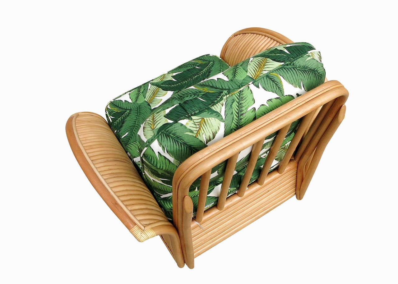 Restored Rattan Fan Arm Lounge Chair Ottoman Set  8