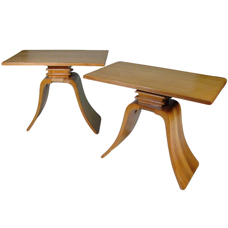 "Classic Paul Frankl ""Bell"" Side Tables for Brown Saltman, Pair"