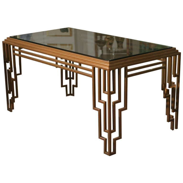 Art Deco Style Stepped Geometric Dining Table / Desk For Sale