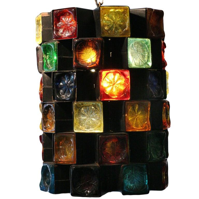Mid-Century Hand Blown Glass & Iron Pendant Lamp