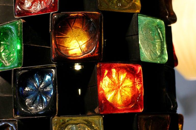 Mid-Century Hand Blown Glass & Iron Pendant Lamp image 3