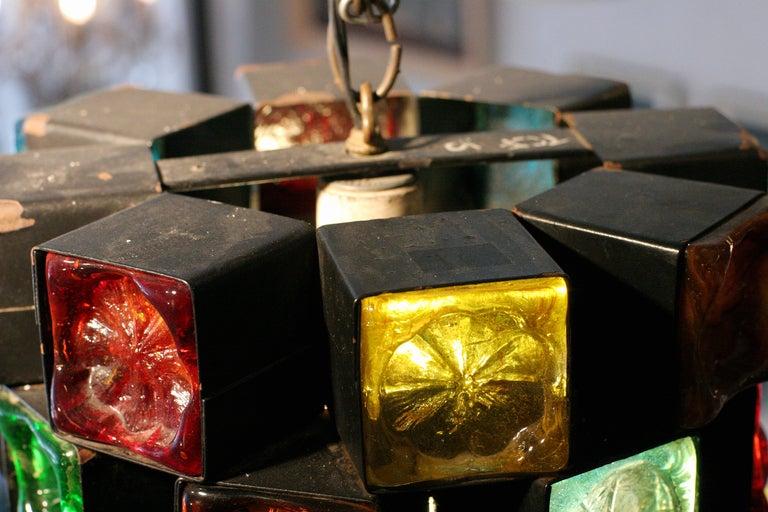 Mid-Century Hand Blown Glass & Iron Pendant Lamp image 4