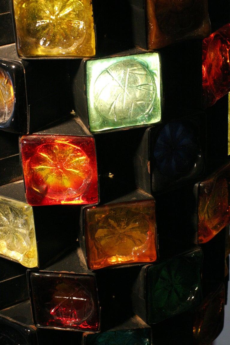 Mid-Century Hand Blown Glass & Iron Pendant Lamp image 5