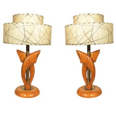Yasha Heifetz Free-Form Oak and Brass Table Lamps, Pair