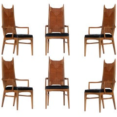 Set of Six High Back Cathedral Danish Modern Dining Chairs **Saturday Sale**