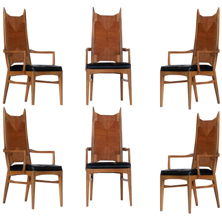 Set of six high back cathedral danish modern dining chairs for Modern high back dining chairs