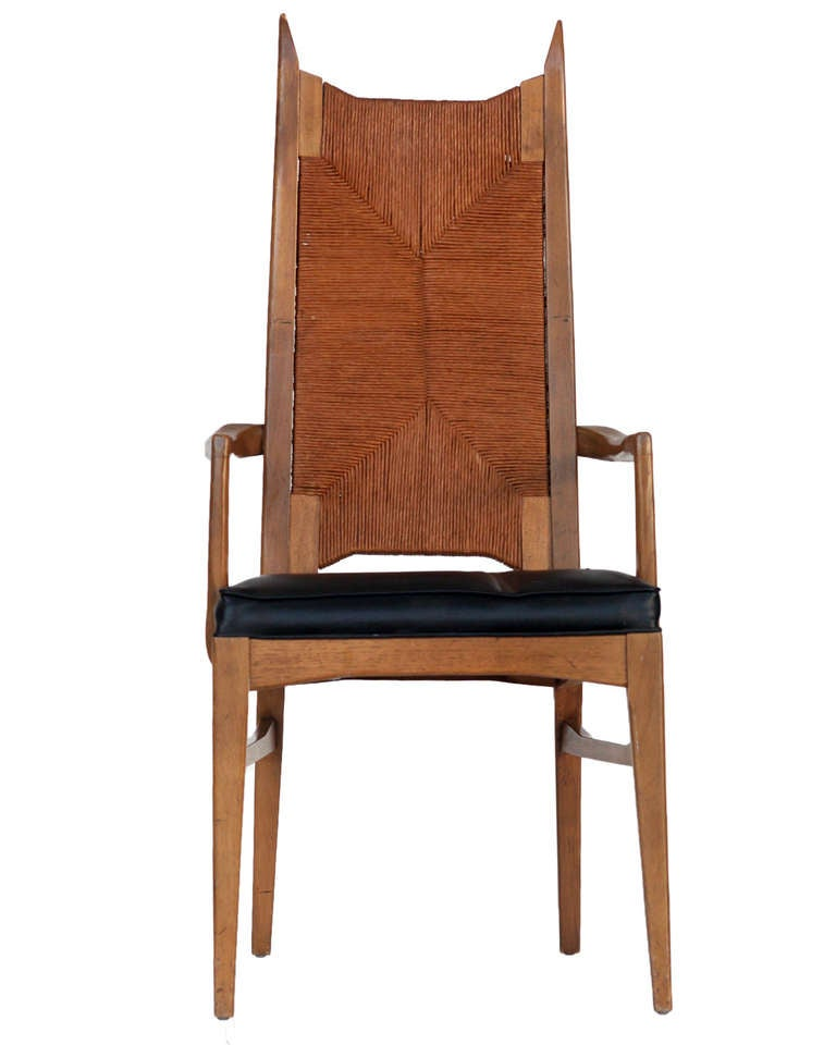 Set of 6 high back cathedral danish modern dining chairs for Modern high back dining chairs