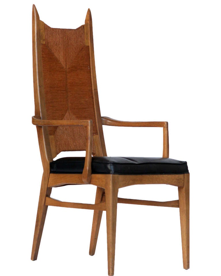 Set of six high back cathedral danish modern dining chairs for Dining room high chairs