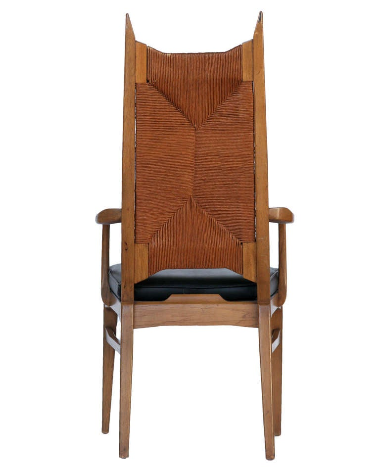Mid Century Modernist High Back Or Desk Chair W New: Set Of Six High Back Cathedral Danish Modern Dining Chairs