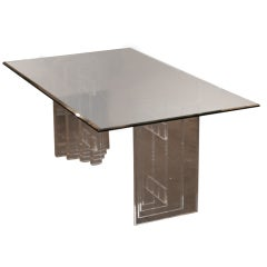 Lucite Skyscraper Style Dining Table with Six Matching Chairs