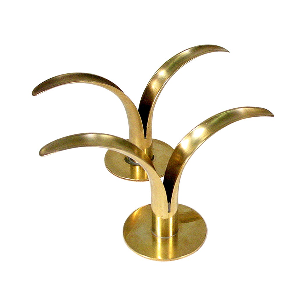 Mid-Century Modern Ystad Brass Candleholders
