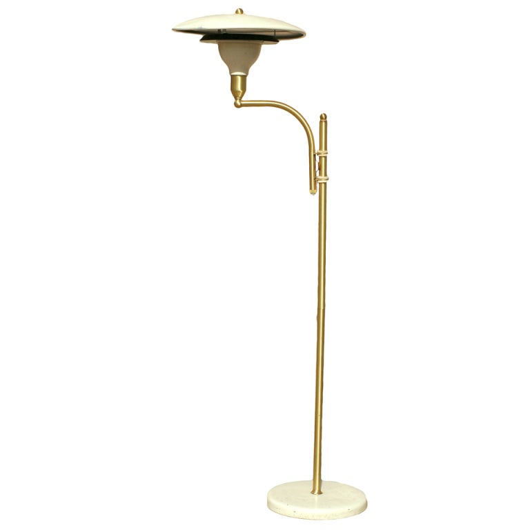 brass floor lamp marble base with shade mg wheeler sight light vintage