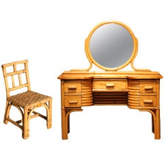 Child's Rattan and Mahogany Vanity with Matching Chair