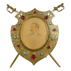 Antique Brass Sword and Shield Picture Frame, circa 1860