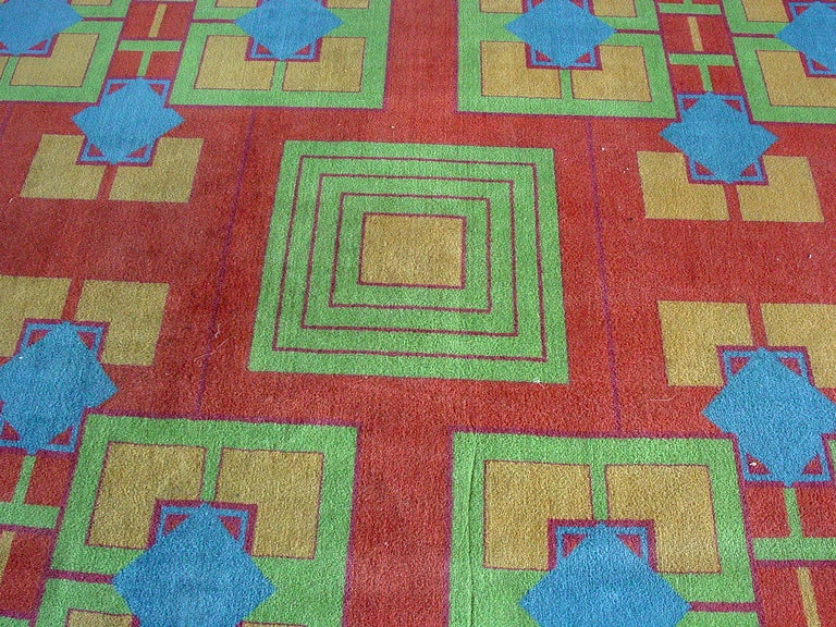 This four-color Art Deco carpet was originally in the Arizona Biltmore Hotel built in 1929.  One of the only existing luxury hotels in the world with a Frank Lloyd Wright-influenced design, The Arizona Biltmore has been an Arizona landmark since its