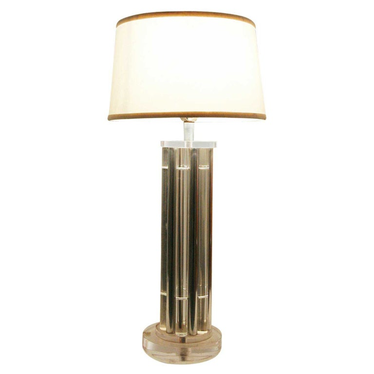 Columnar Lucite And Aluminum Rods Lamp In The Style Of