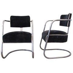 Cantilevered Art Deco Tubular Chrome Chairs by Jones Decorating Company