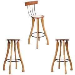 Pitch Fork & Axe Handle Bar Stools, Set of Three