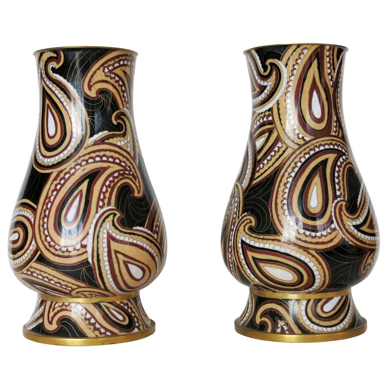 modernist mid century cloisonn vase pair for sale at 1stdibs. Black Bedroom Furniture Sets. Home Design Ideas