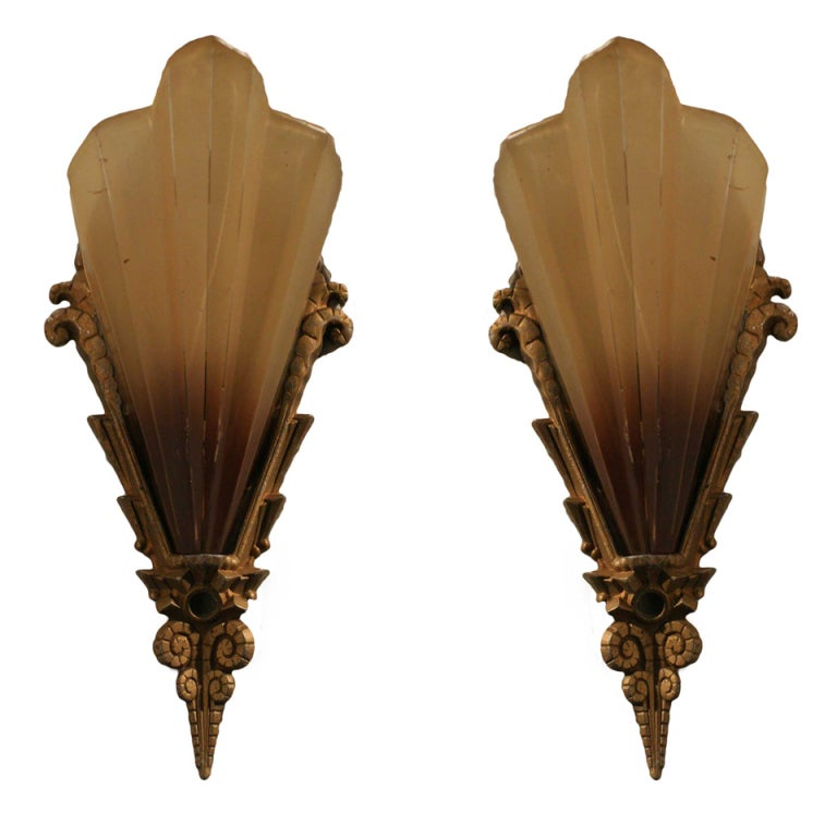 Art Glass Wall Lights: Elegant French Art Deco Glass Wall Sconces, Pair At 1stdibs