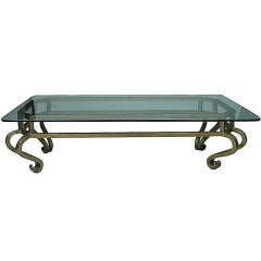 Glamorous Hollywood Regency Gilt Metal Coffee Table