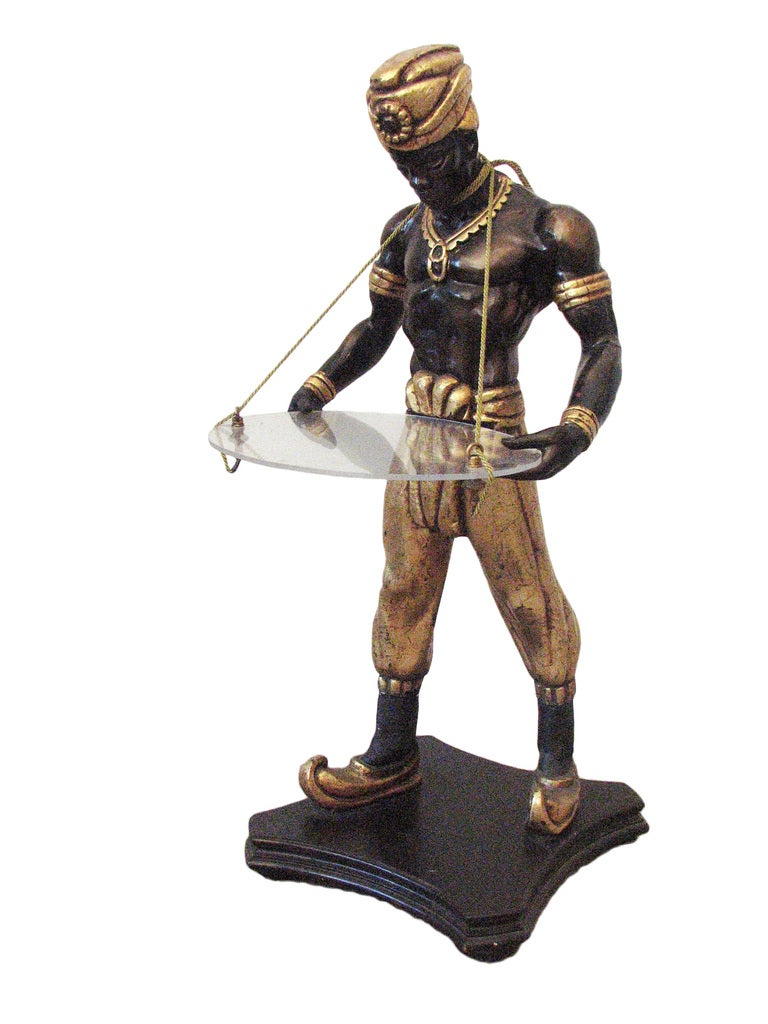 Blackamoor Statue Holding Lucite Tray Circa 1960 At 1stdibs