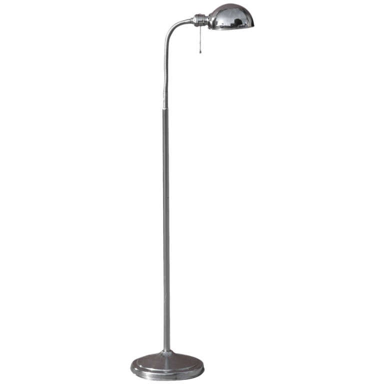 Mid Century Reading Lamp: Mid-Century Modern Chrome Gooseneck Floor Lamp **Saturday