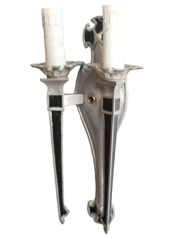 Art Deco Wax Candle Wall Sconces : Geometric Art Deco Aluminum Candle Wall Sconces **Saturday Sale** at 1stdibs