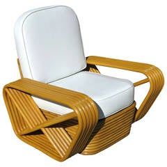Paul Frankl Style Square Pretzel Rattan Lounge Chair , Sally Ann