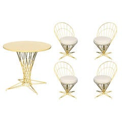 "Verner Panton Style Wire ""Cone"" Chairs and Dining Table Set  **Saturday Sale**"