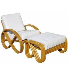 Round Pretzel Arm Rattan Lounge Chair