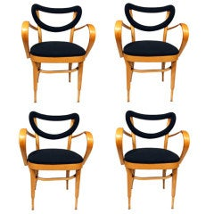 Set of Vintage 1950's Dining Chairs in the Manner of Thonet
