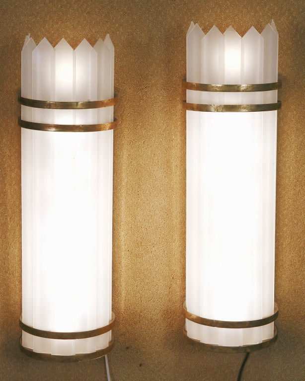 Milk Glass Wall Lamps : Art Deco Polished Aluminum with Slatted Milk Glass Wall Lamp Sonce, Pair at 1stdibs