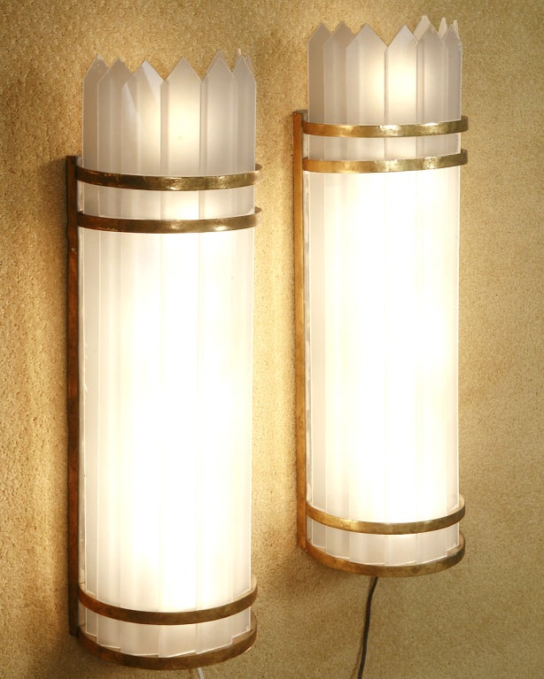 Art Deco Polished Aluminum with Slatted Milk Glass Wall Lamp Sonce, Pair at 1stdibs